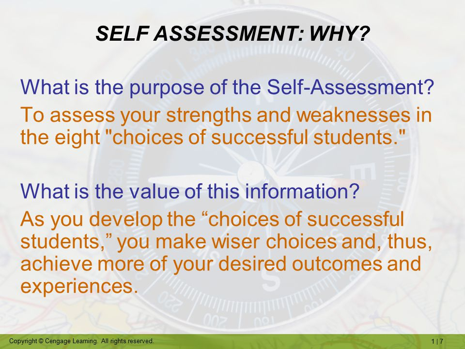 SELF ASSESSMENT: WHY What is the purpose of the Self-Assessment