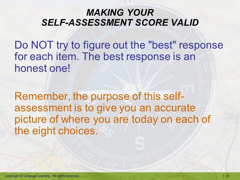 MAKING YOUR SELF-ASSESSMENT SCORE VALID