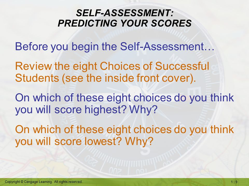 SELF-ASSESSMENT: PREDICTING YOUR SCORES