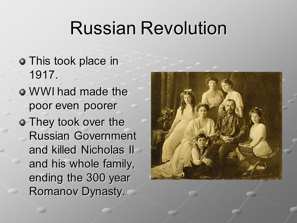 Russian Revolution This took place in 1917.