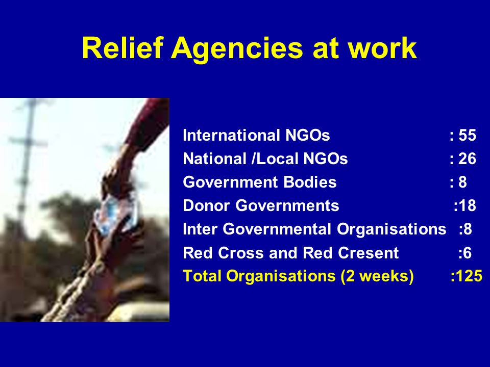 Relief Agencies at work