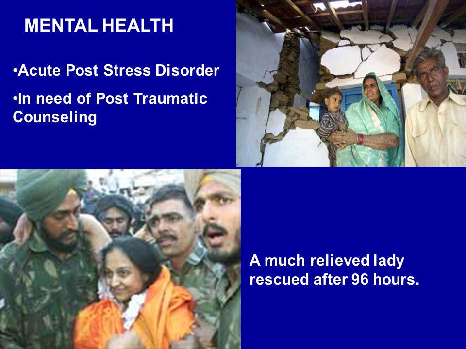 MENTAL HEALTH Acute Post Stress Disorder