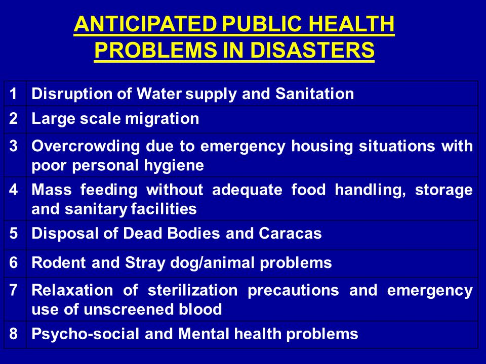 ANTICIPATED PUBLIC HEALTH PROBLEMS IN DISASTERS