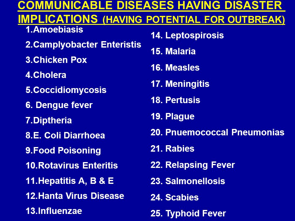 COMMUNICABLE DISEASES HAVING DISASTER