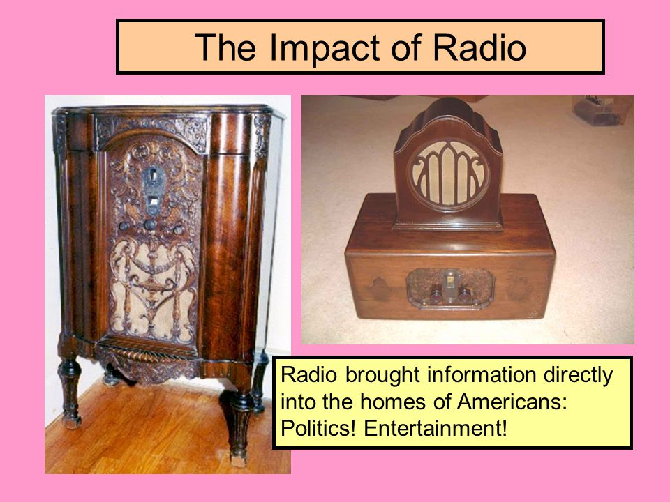 The Impact of Radio Radio brought information directly into the homes of Americans: Politics.