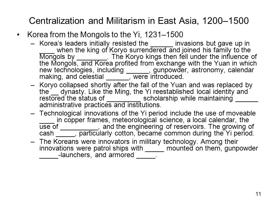 Centralization and Militarism in East Asia, 1200–1500