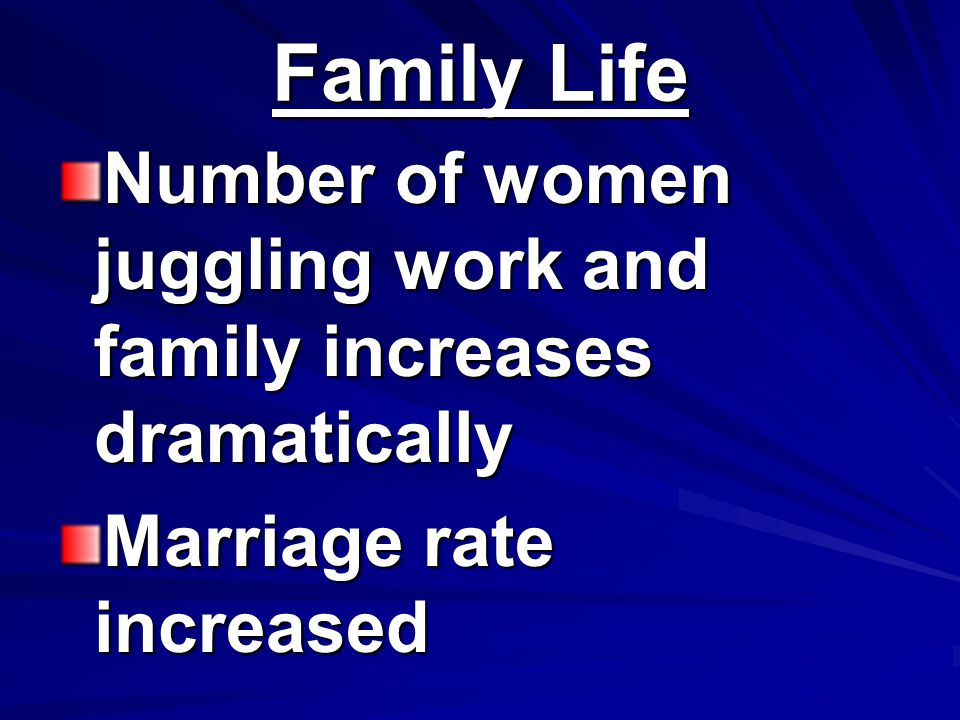 Family Life Number of women juggling work and family increases dramatically Marriage rate increased
