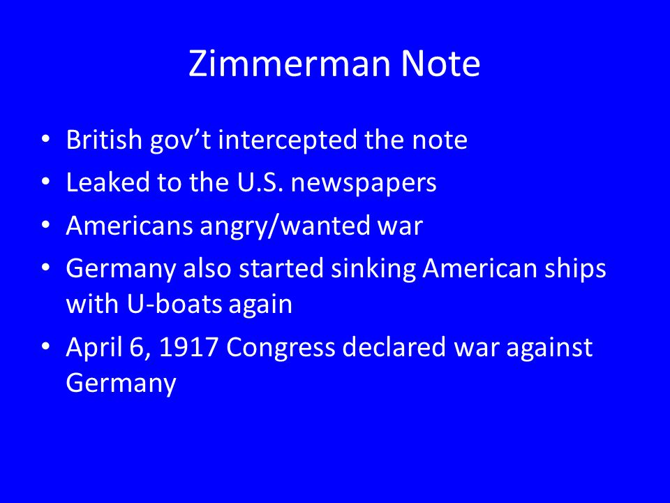 Zimmerman Note British gov't intercepted the note