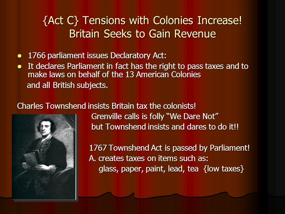 {Act C} Tensions with Colonies Increase! Britain Seeks to Gain Revenue