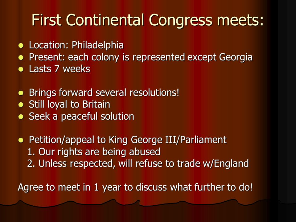 First Continental Congress meets: