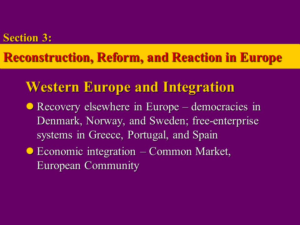 Western Europe and Integration