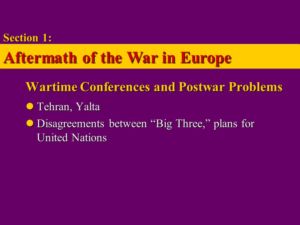 Wartime Conferences and Postwar Problems