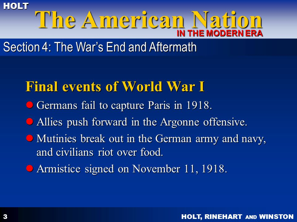 Final events of World War I