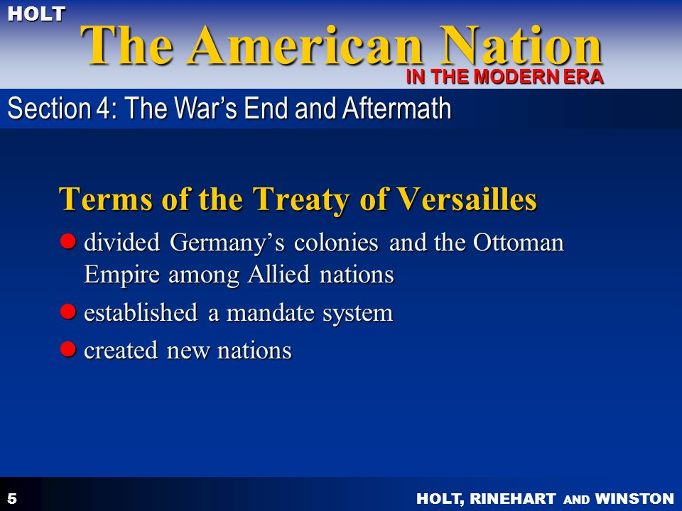 Terms of the Treaty of Versailles