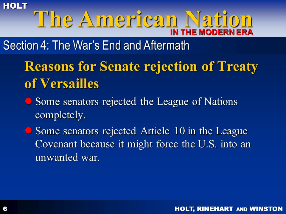 Reasons for Senate rejection of Treaty of Versailles