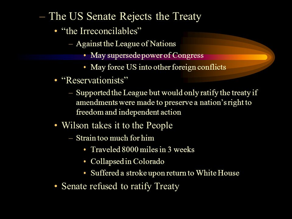 The US Senate Rejects the Treaty