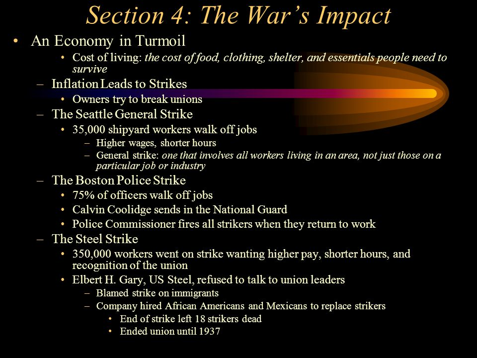 Section 4: The War's Impact