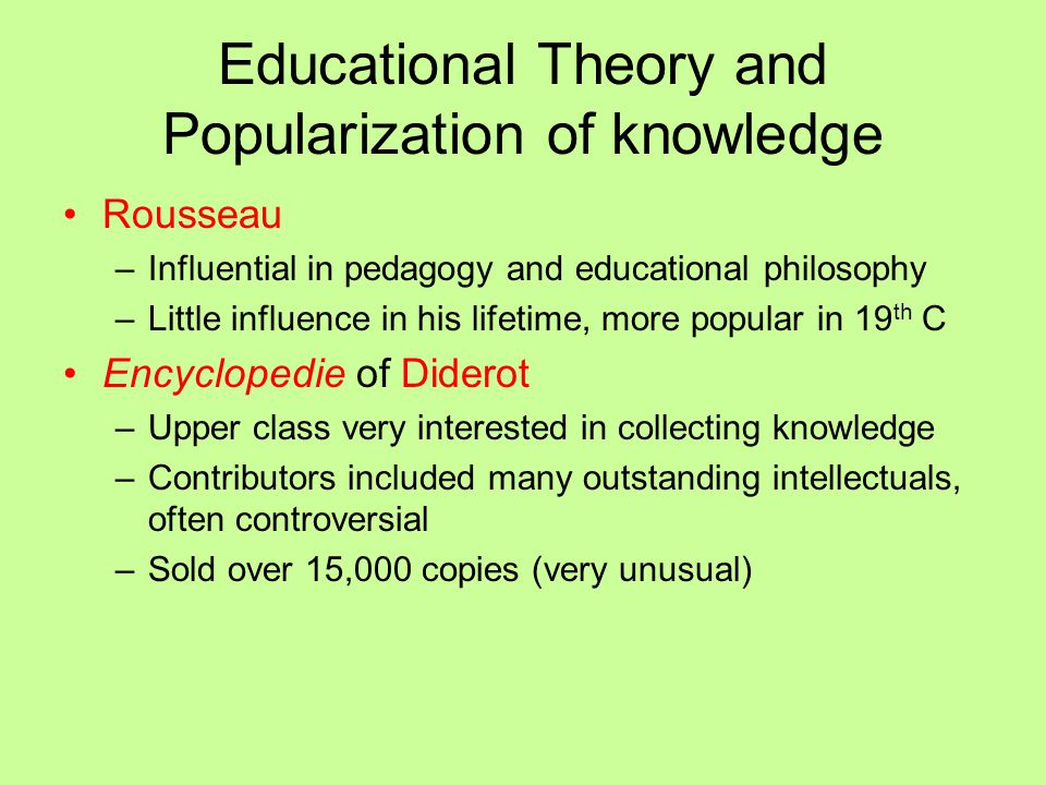 Educational Theory and Popularization of knowledge