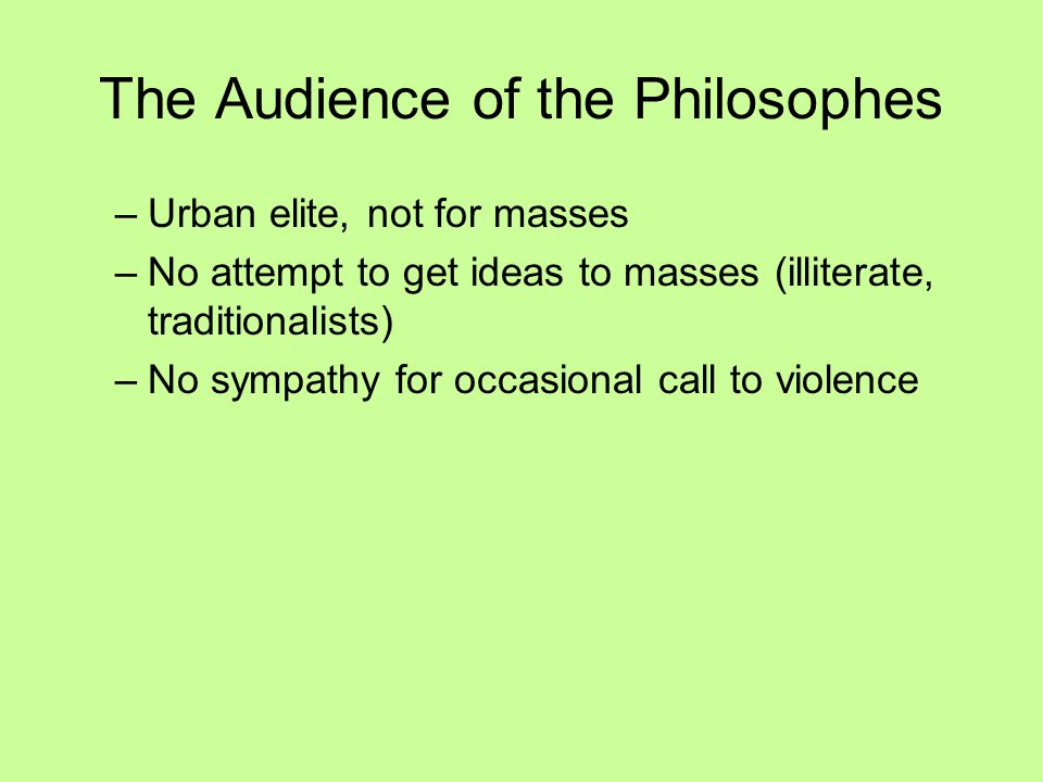 The Audience of the Philosophes