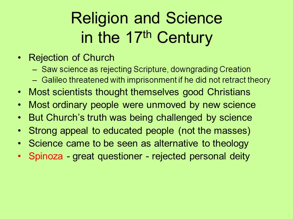 Religion and Science in the 17th Century