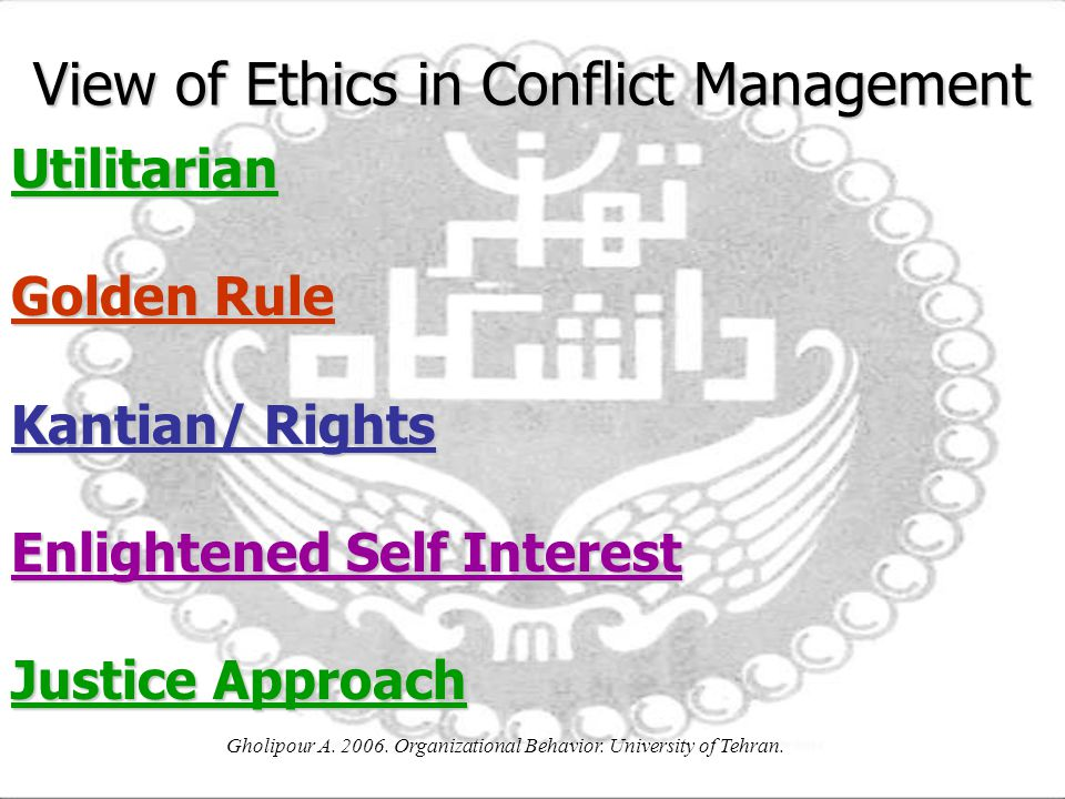 View of Ethics in Conflict Management