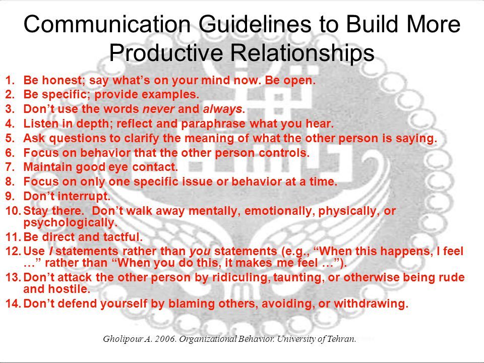 Communication Guidelines to Build More Productive Relationships