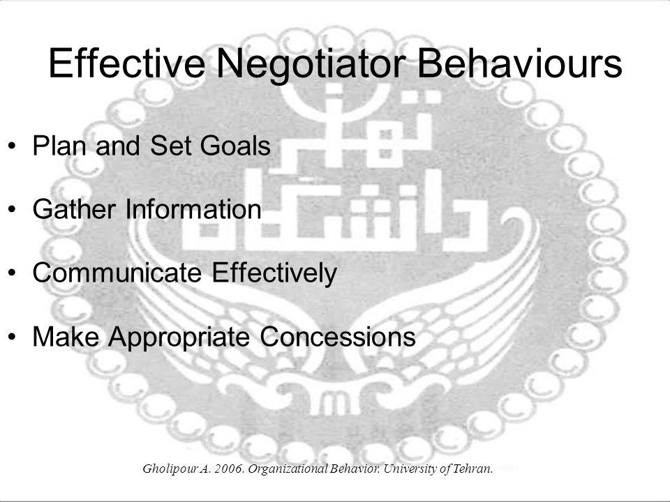 Effective Negotiator Behaviours