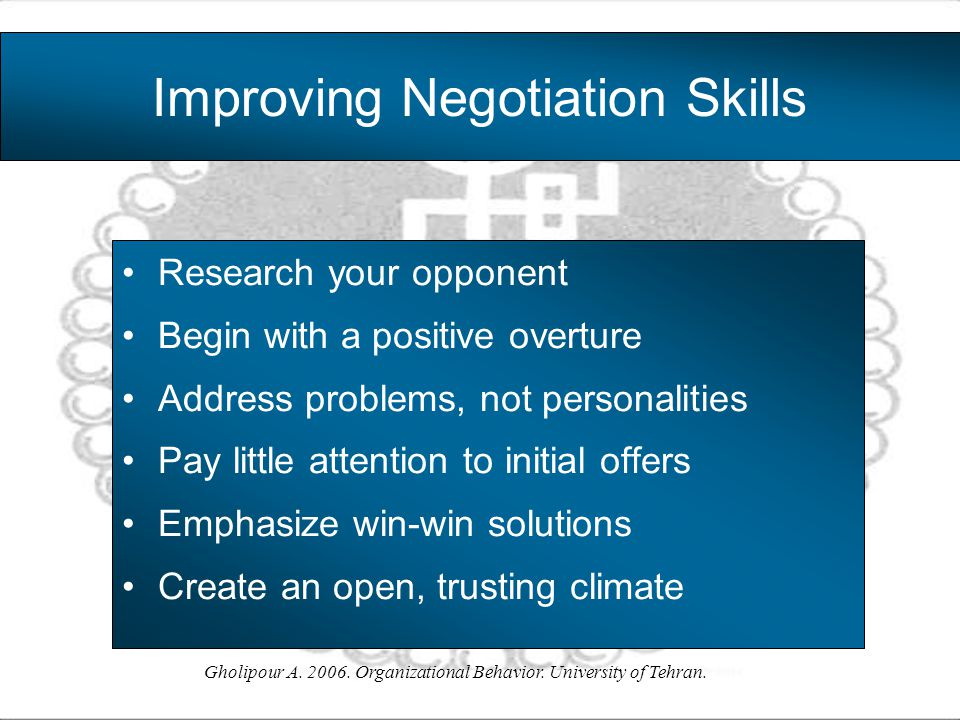 Improving Negotiation Skills