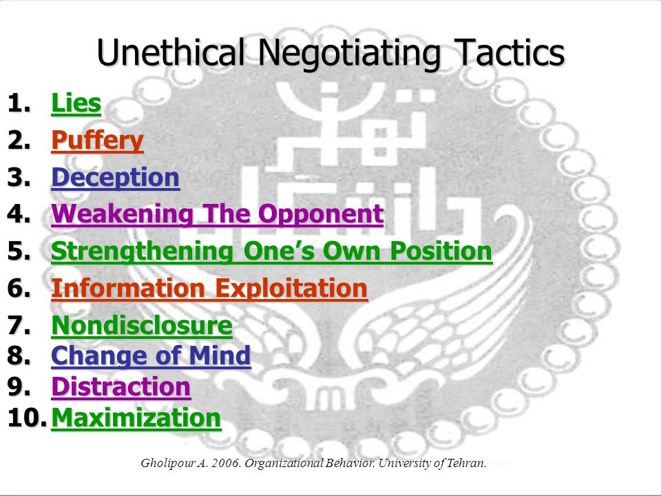 Unethical Negotiating Tactics
