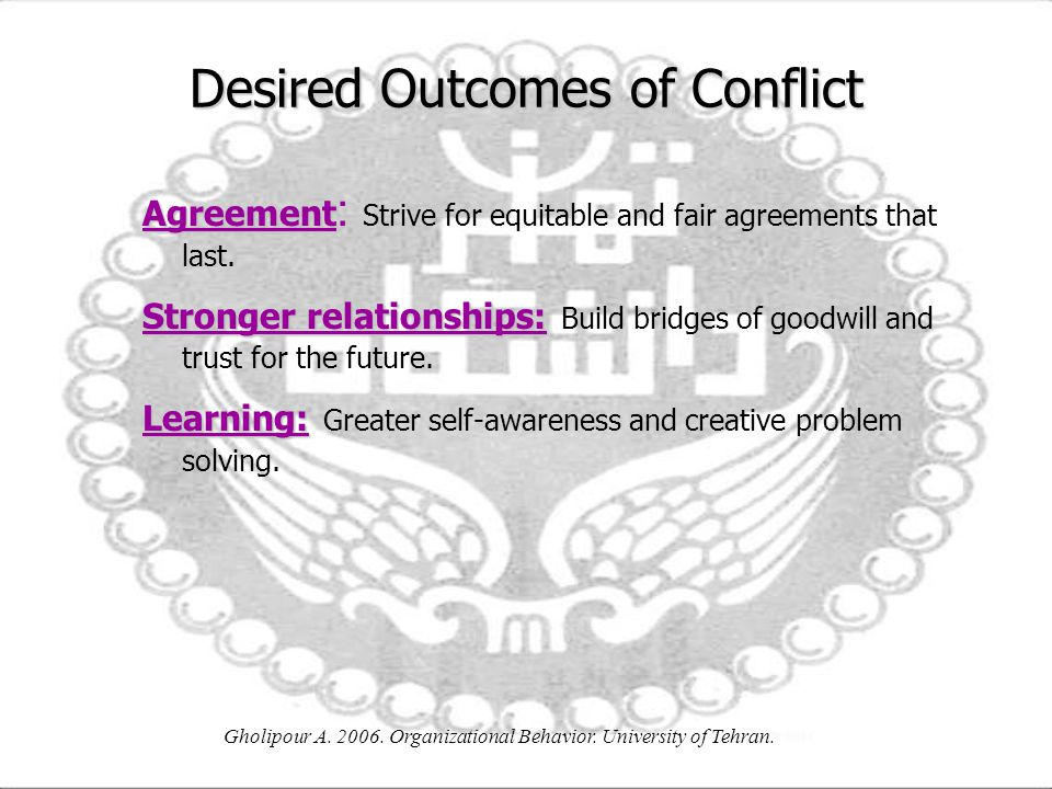 Desired Outcomes of Conflict