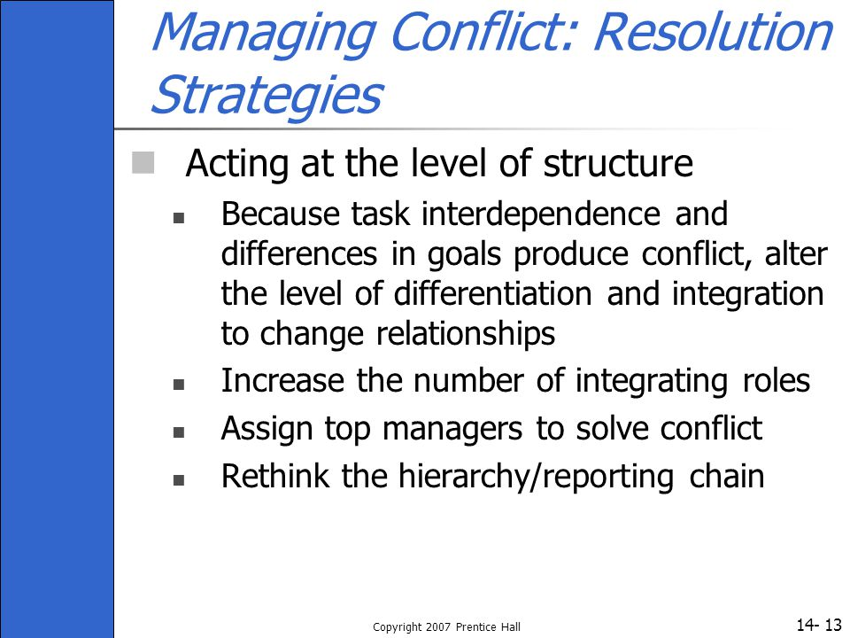 Managing Conflict: Resolution Strategies