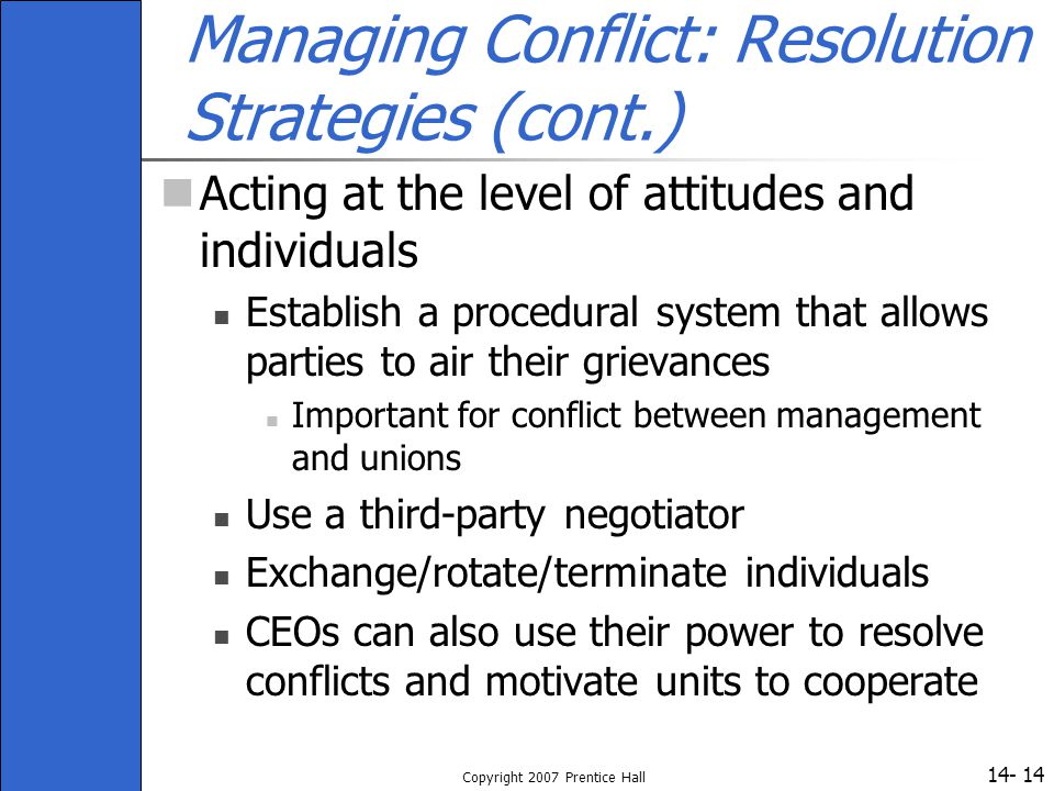 Managing Conflict: Resolution Strategies (cont.)