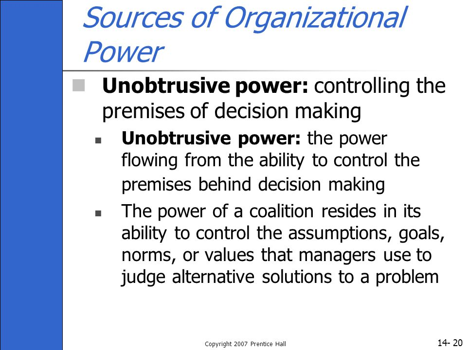 Sources of Organizational Power