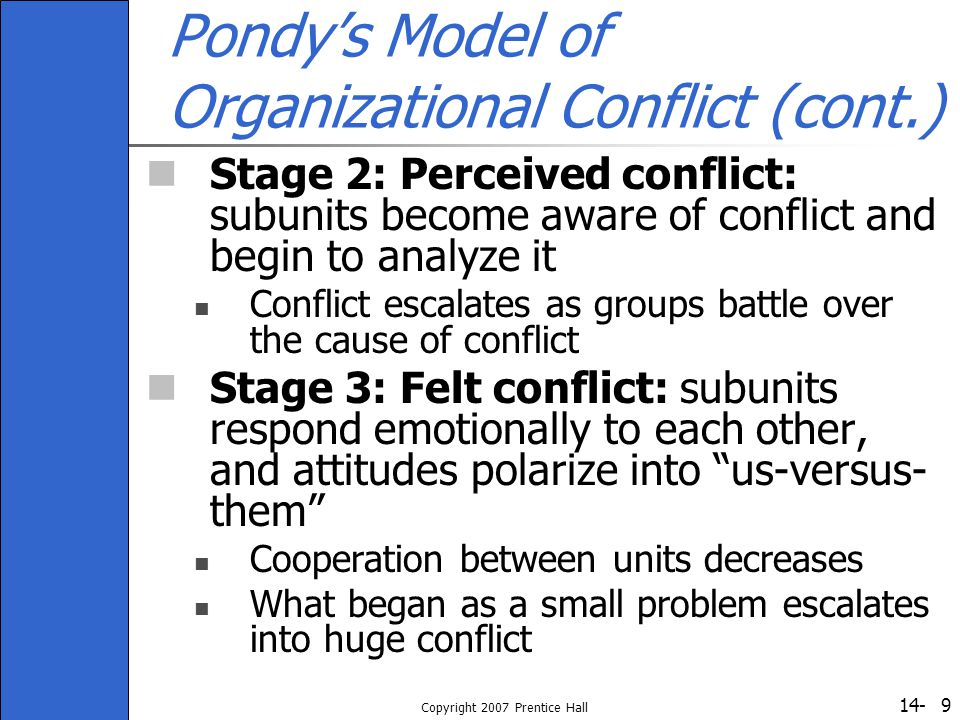 Pondy's Model of Organizational Conflict (cont.)