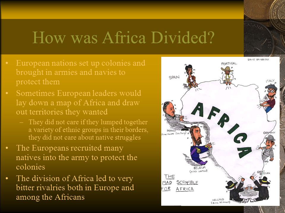 How was Africa Divided European nations set up colonies and brought in armies and navies to protect them.
