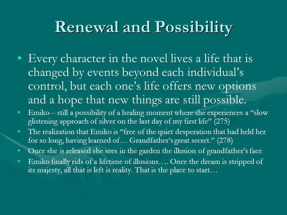 Renewal and Possibility