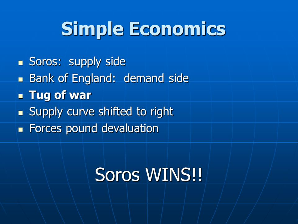 Simple Economics Soros WINS!! Soros: supply side