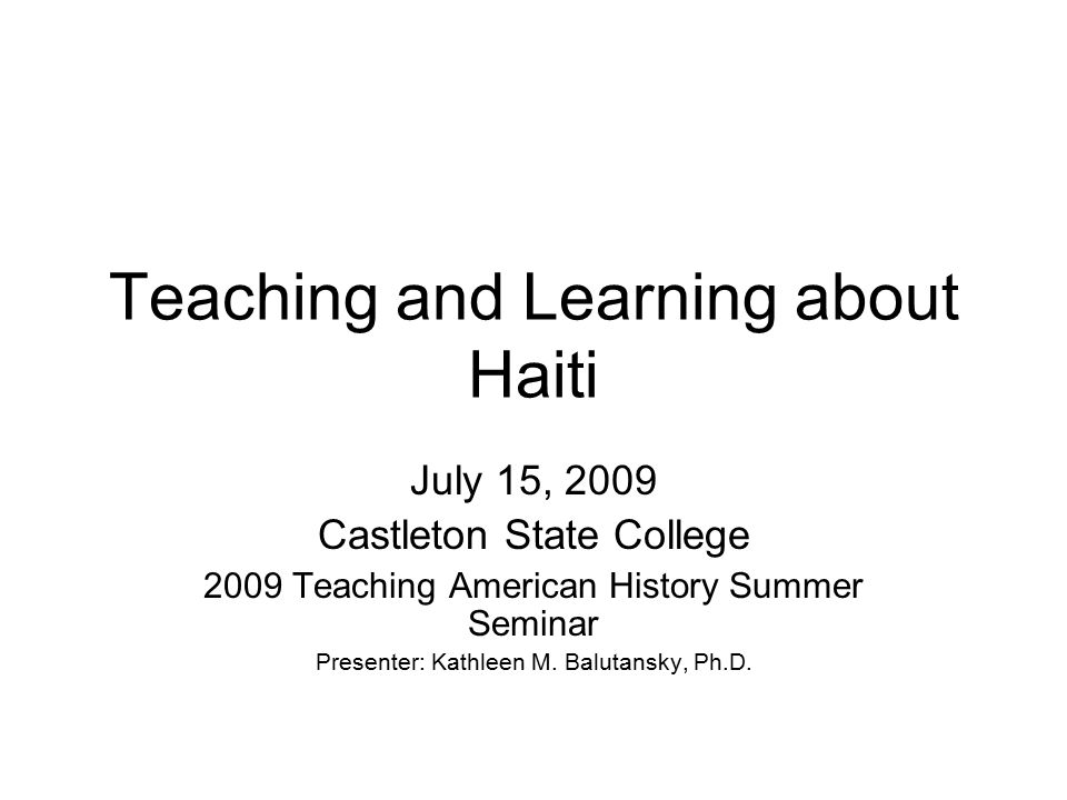 Teaching and Learning about Haiti