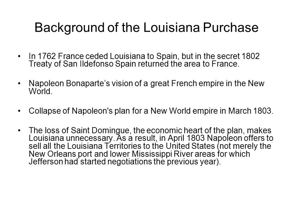 Background of the Louisiana Purchase