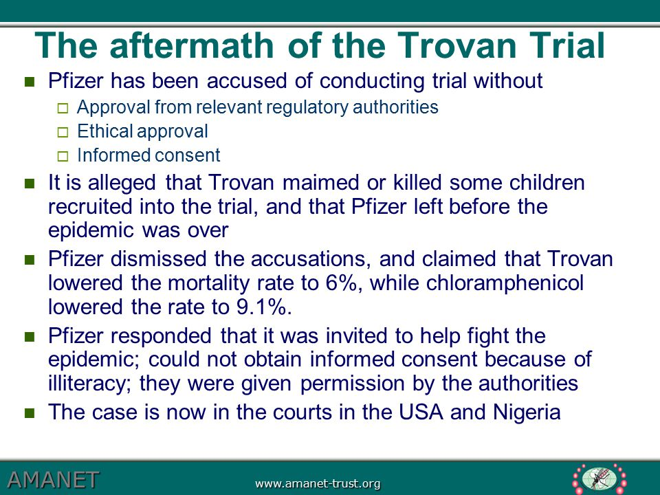 The aftermath of the Trovan Trial