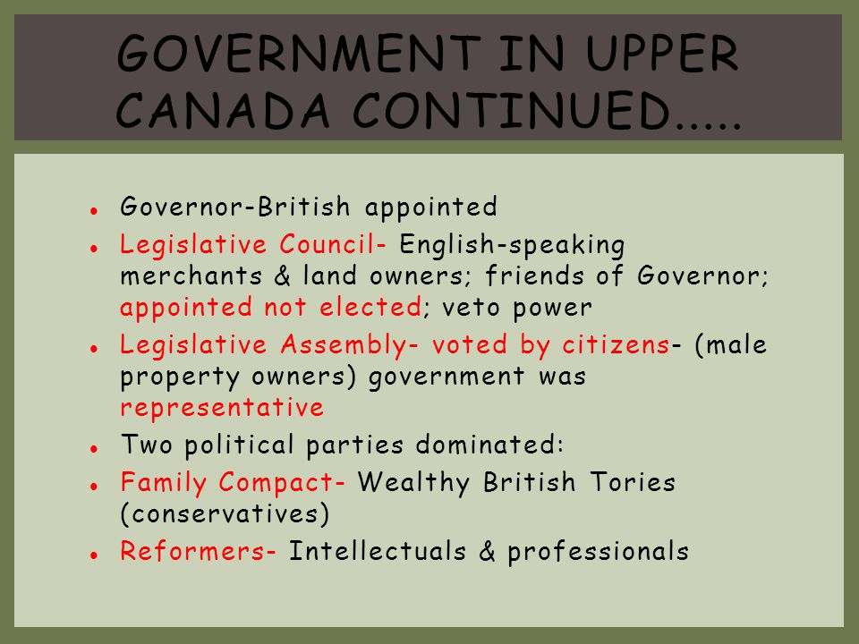 Government in Upper Canada Continued.....