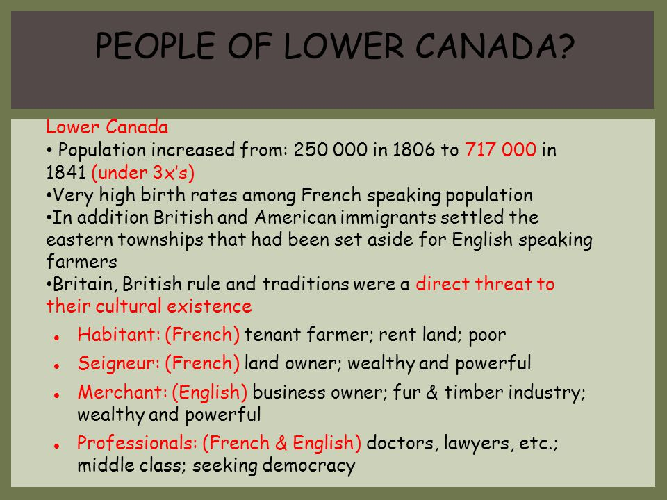 PEOPLE OF LOWER CANADA Lower Canada