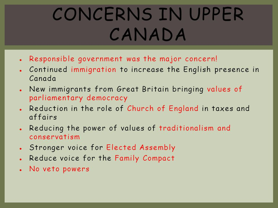 CONCERNS in upper Canada