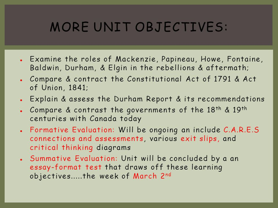 More Unit objectives: Examine the roles of Mackenzie, Papineau, Howe, Fontaine, Baldwin, Durham, & Elgin in the rebellions & aftermath;