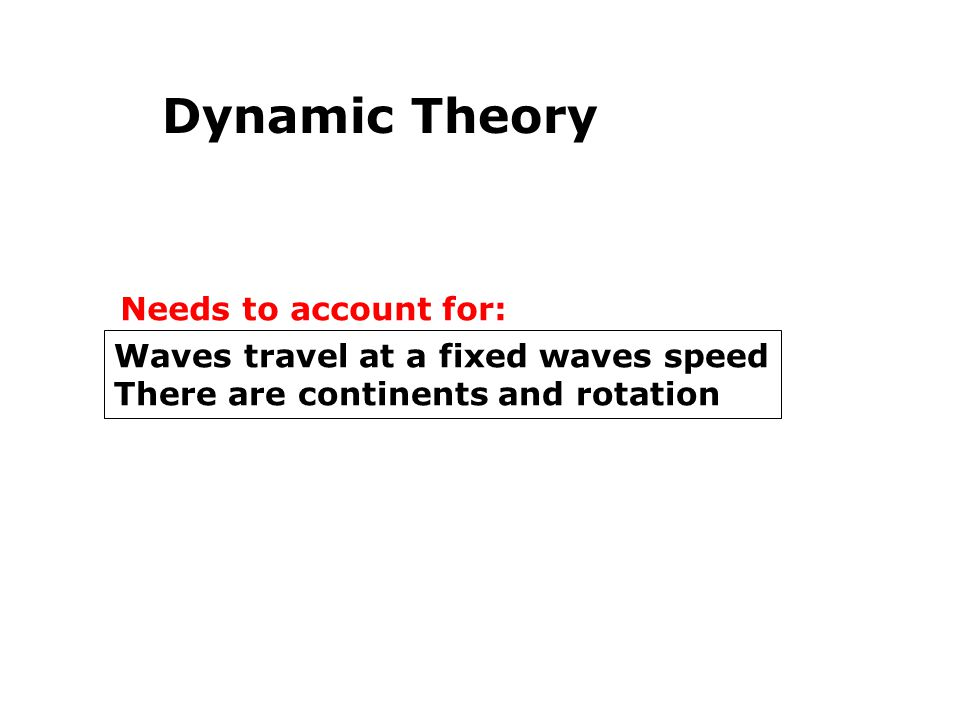 Dynamic Theory Needs to account for: