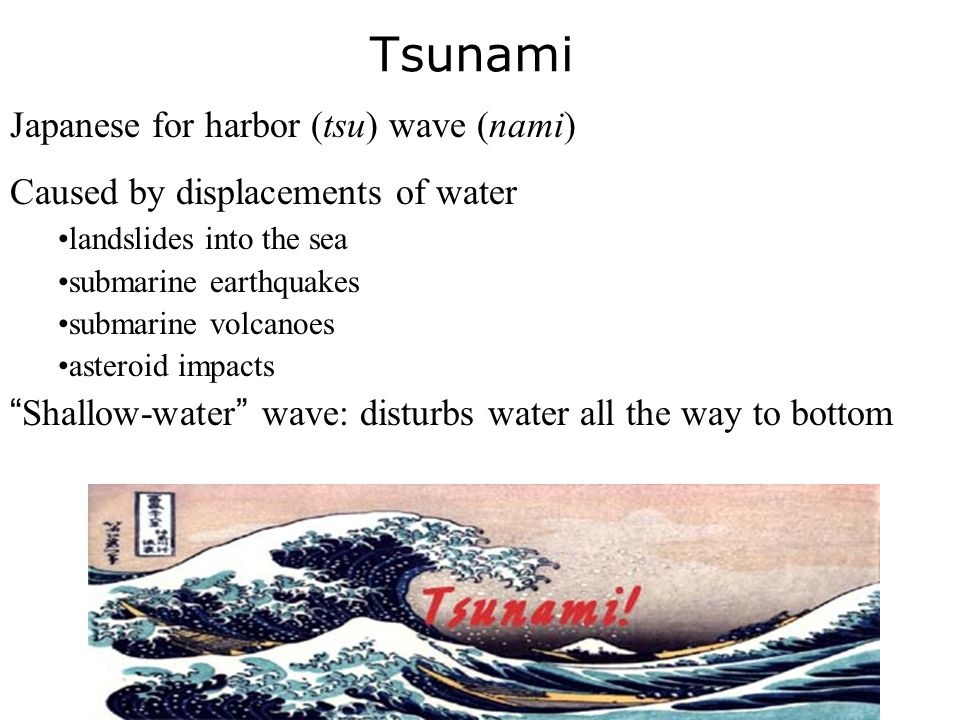 Tsunami Japanese for harbor (tsu) wave (nami)