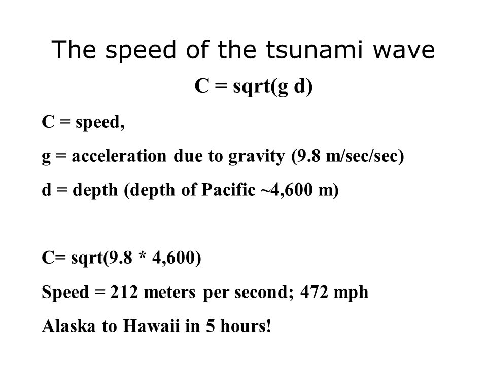 The speed of the tsunami wave