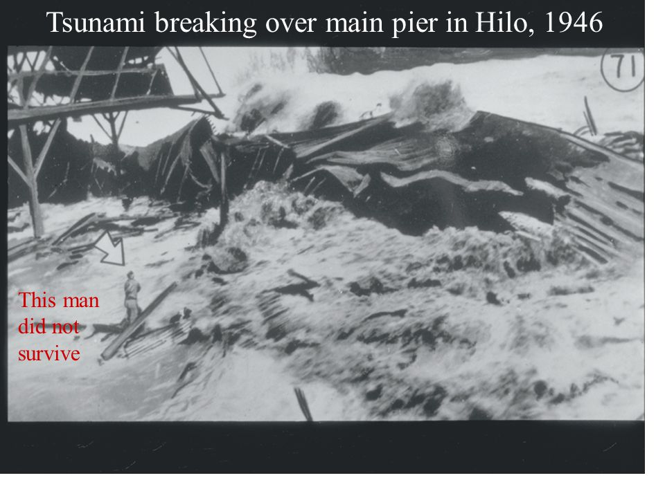 Tsunami breaking over main pier in Hilo, 1946