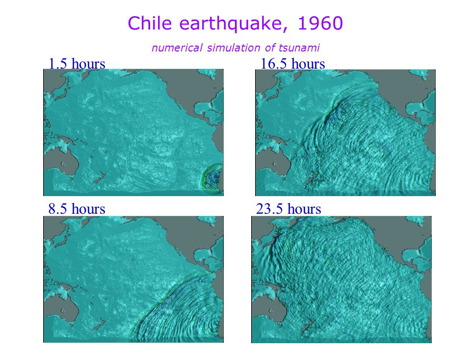 Chile earthquake, 1960 numerical simulation of tsunami