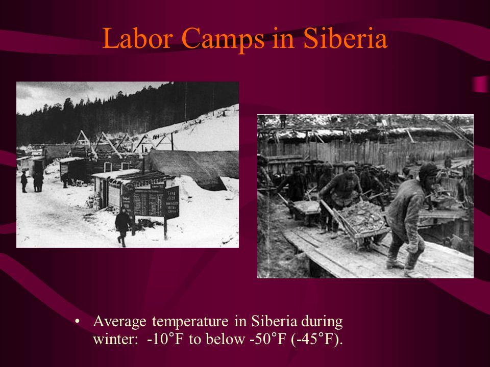 Labor Camps in Siberia Average temperature in Siberia during winter: -10°F to below -50°F (-45°F).